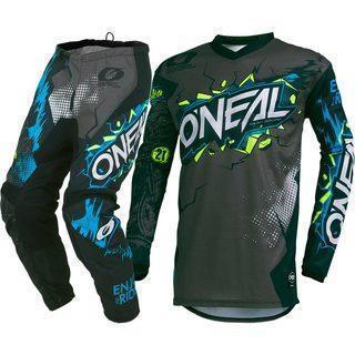 black and teal dirt bike apparel