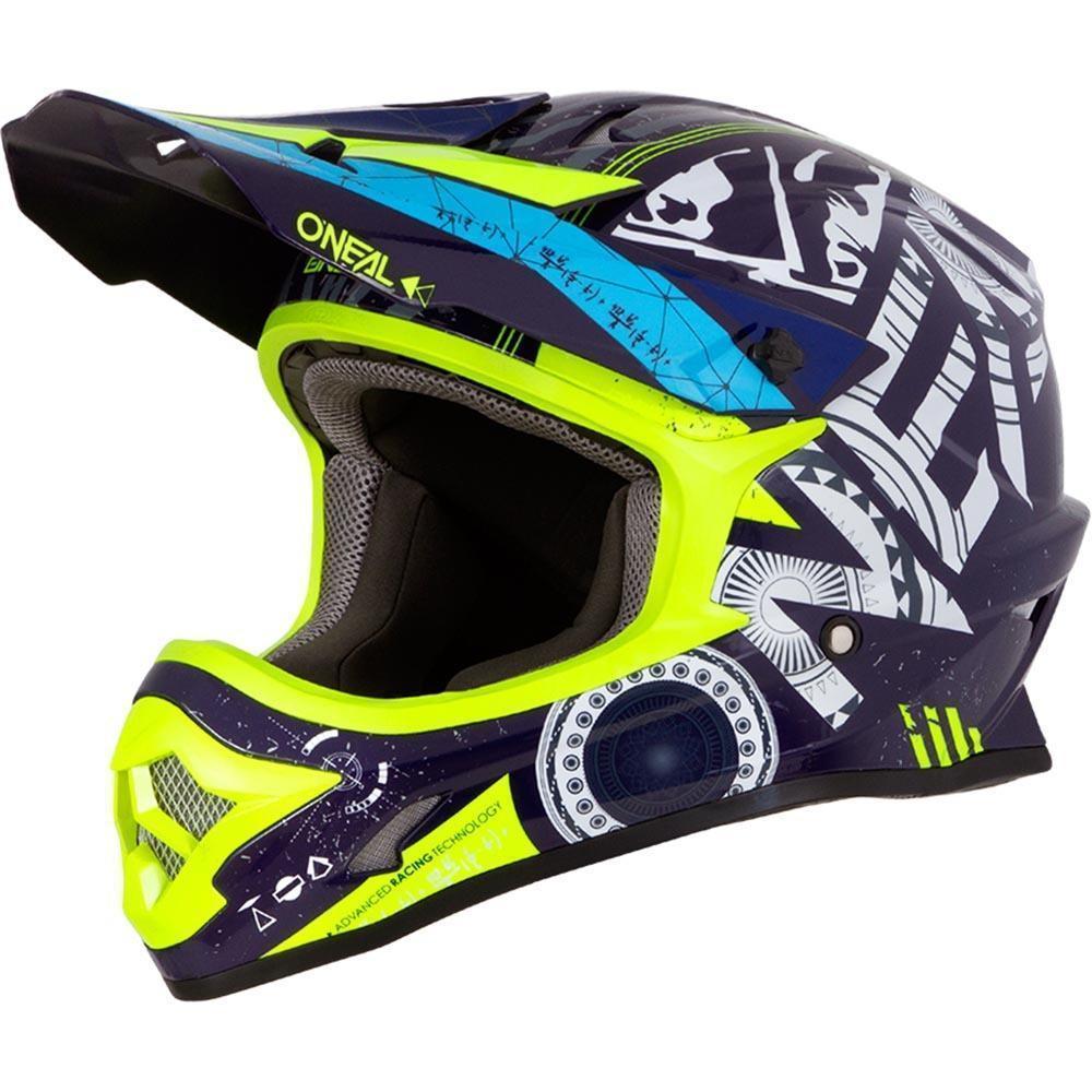 Yellow - Dark Blue Oneal Helmet - quad bike apparel
