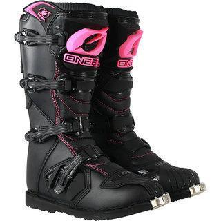 black and pink boots - dirt bike apparel